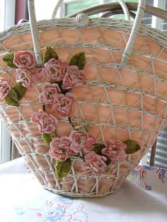 Vintage basket purse by littlepinkstudio - the silk ribbon embroidery is very fitting on woven wicker types - looks like roses on a trellis  *********************************************   littlepinkstudio via Flickr #silk #ribbon #embroidery hh