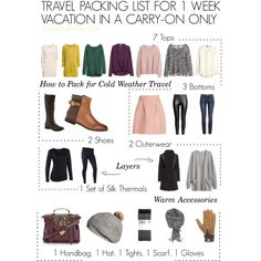 How to Pack for Cold Weather in a Carry-on Only by travelfashiongirl on Polyvore featuring H&M, Lacoste, BP., Seraphina and Terramar