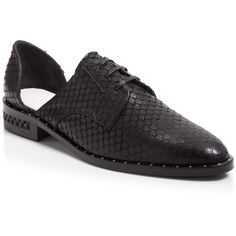 Freda Salvador Fish Skin Embossed Leather D'Orsay Oxford - Wit (19,075 PHP) ❤ liked on Polyvore featuring shoes, oxfords, black, lace up shoes, lace up oxfords, oxford shoes, black shoes und leather oxfords