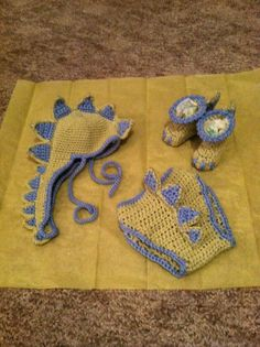 Crochet Baby Dinosaur Hat Diaper Cover and Bootie by BuyBillerman, $40.00