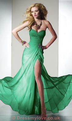 Elegant Green Sweetheart Chiffon Gown ED114 : DressMyLove