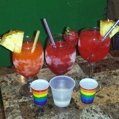 Bahama Mama, Hurricane and a Strawberry Daiquiri and a shot of Bacardi. Here we goooooo!!!! #DaniellesKitchen