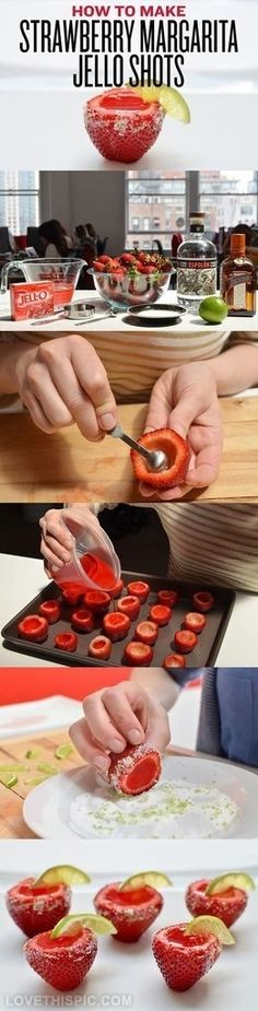 DIY Strawberry Margarita Jello Shots- wil have to replace the margarita with a different alcohol...