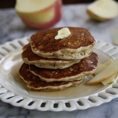 Apple-Cinnamon Pancakes | These healthy wheat-free pancakes features a mixture of almond and white rice flour, as well as relatively little milk to create a thick, fluffy texture.