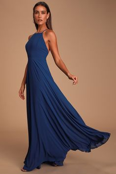 The Mythical Kind of Love Navy Blue Maxi Dress is simply irresistible in every single way! A billowing maxi dress with apron neckline, crisscrossing straps and an open back. Blue Maxi, Navy Blue Dresses, Backless Maxi Dresses, Large Size Dresses, Fitted Bodice, Bridesmaid Dresses, Formal Dresses, My Style, Clothes
