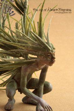 Lavander Stray sod - handmade Ooak fairy faerie goblin pixie creature fantasy art doll grass. €210.00, via Etsy.