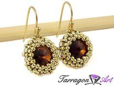 Kolczyki Beaded Swarovski Elements - Smoky Topaz | Tarragon Art - stylowa biżuteria artystyczna