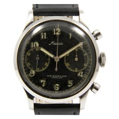 Minerva Stainless Steel Chronograph Wristwatch Made for Swedish Military   1944