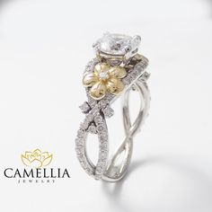 Unique Moissanite Engagement Ring 14K Two Tone by CamelliaJewelry