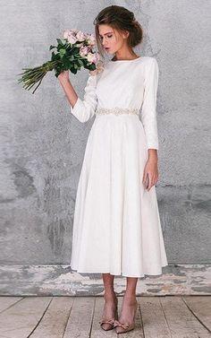 Natural Long Sleeve Taffeta Dress