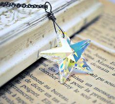 Crystal Star Necklace Oxidized Sterling Silver by BGBJewelry, $27.00
