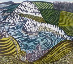 'Chapman's Pool 1' by English artist & printmaker Liz Somerville. 930 x 930 mm. via the artist's site