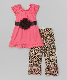 Look what I found on #zulily! Hot Pink Tunic & Leopard Pants - Infant, Toddler & Girls by Tutus by Tutu AND Lulu #zulilyfinds