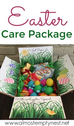 Easter Care Package: Printable Easter care package box decorations and ideas to fill a box with Easter goodies. Even if you can't be there, the Easter Bunny can still send a box decorated like an Easter Basket filled with treats. Easter Party, Easter Gift, Easter Crafts, Easter Food, Easter Dinner, Easter Decor, Missionary Packages, Deployment Care Packages, College Care Packages