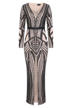 b0ee297efa NAZZ COLLECTION ELITE VIP BLACK NUDE SEQUIN ILLUSION MIDDLE SLIT MAXI DRESS
