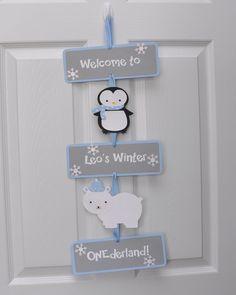 Winter Onederland Door Sign, Penguin and Polar Bear door sign, Winter Onederland Party by DesignsByDodi on Etsy https://www.etsy.com/listing/217836756/winter-onederland-door-sign-penguin-and