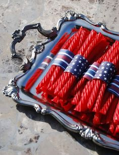 Licorice and patriotic scrapbook paper. Brilliant for a of July party! or a wedding Patriotic Party, 4th Of July Party, Patriotic Decorations, Fourth Of July, Silver Decorations, Eagle Scout Ceremony, Independance Day, Party Sweets, Happy 4 Of July
