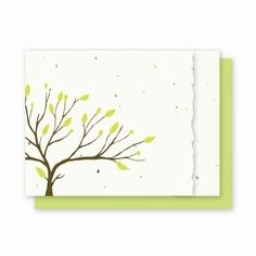"""Tree with Deckled Edge Landscape - 4 Pk  Usually Ships in 3-5 bus days Incorporating the natural deckled edge into our classic Tree design Inside of each card is blank for you to write a special message! Each card is embedded with a colorful array of Wildflower seeds.Our Cards are Eco-friendly: 100% Recycled Ingredients No Chemical No Dyes No Additives Card Size: 4.5"""" x 6""""  Cards also includes color coordinating recycled envelopes Ships from CA by UPS www.finegifts.labellabaskets.com"""