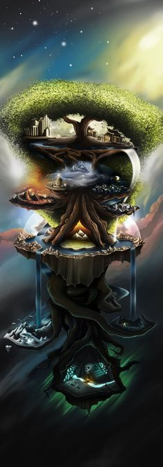 Nine Worlds in Norse Myth The mapping of the Norse cosmos varies from accounts to accounts. But as far as we are concerned, there are Nine Worlds that are the homes of certain Norse beings. Standing in the middle of the cosmos, Yggdrasil Tree of Life held Viking Art, Viking Runes, Viking Woman, Religion, Norse Tattoo, Yggdrasil Tattoo, Armor Tattoo, Viking Tattoos, Mythology Tattoos