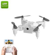 Miniature foldable drone comes with its own remote control Snap pictures and shoot video from above with the drone and camera App-Support, Latest Drone, New Drone, Foldable Drone, Pilot, Drone For Sale, App Support, Drone Technology, Drone Quadcopter, Cool Gadgets