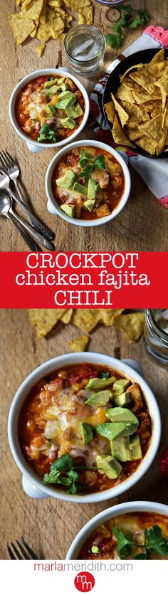 Crock pot Chicken Fajita Chili Recipe, a simple & delicious meal your whole family will love! MarlaMeridith.com ( @marlameridith )