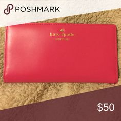 Kate Spade wallet Hot pink KS wallet, used a few times in like-new condition! Message me for further inquiries :) kate spade Bags Wallets