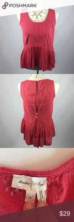 Anthropologie coral lace peplum cotton tank Great condition! Brand is Meadow Rue from Anthro. Functioning back buttons.  no trades Anthropologie Tops Tank Tops