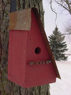 Rustic Birdhouse Rustic Wood Bird House Upcycled Bike Chain Perch Cottage Farmhouse Old Red