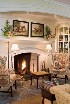 46 Cozy Fireplace Decor For Cottage Living Room English Country Decor, French Country Living Room, French Country Decorating, Country French, English Living Rooms, French Decor, Rustic French, Country Kitchen, French Country Fireplace