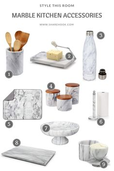 Marble kitchen accessories you have to have in the kitchen ! - Marble kitchen accessories you have to have in the kitchen ! Gold Kitchen, New Kitchen, Kitchen Decor, Marble Kitchen Ideas, Marbel Kitchen, Copper Kitchen Accessories, Marble Bathroom Accessories, Vase Deco, Decorating Kitchen