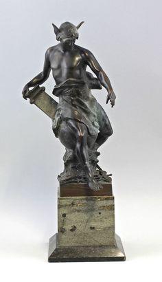 Bronze Skulptur Hermes Merkur Allegorie von Industrie und Welthandel  7638004