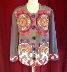 Veste d automne, colorée sur fond gris, en lin épais. Par marie-j-creations : Manteau, Blouson, veste par marie-j-creations