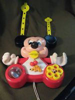 Vintage 1984 Collectable Disney Mickey Mouse Crib Mobile Toy Squeak, Rings Moves
