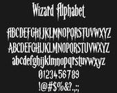 Harry Potter Alphabet, Harry Potter Font, Wizard Font, SVG Fonts, Harry Potter Svg, Silhouette Svg, Cricut Cutting files, Digital Cut Files