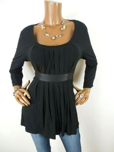 1ddb211d3d4 INC Womens Top L SEXY Black Shirt Stretch Tie Back Casual 3 4 Sleeves  Pleated