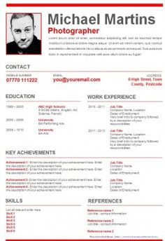 Stylish graphical CV templates in MS Word for you to download ...