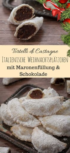Italian Christmas Cookies with Chestnut Filling {Tortell . - Italian Christmas cookies with chestnut filling and chocolate – Tortelli di Castagne # Christmas recipes, # Christmas biscuits, # chestnuts, # cookies Italian Christmas Cookies, Christmas Treats, Christmas Baking, Christmas Parties, Italian Christmas Traditions, Traditional Christmas Cookies, Christmas Truffles, Christmas Biscuits, Christmas Chocolate