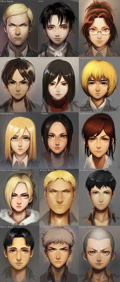 AoT Gesichter  Erwin, Levi, Hanji, Eren, Mikasa, Armin, Christa, Ymir, Sasha, Annie, Reiner, Bertholt, Marco, Jean & Connie