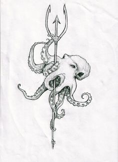Poseidon's trident tattoo - Maybe with color or leave it the way it is
