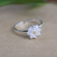 Fashion Romantic Lotus Flower Plant Silver Sterling Silver Adjustable Ring Jewelry Accessory for Women Girls Bride Wedding Party