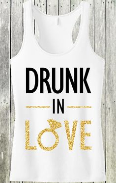 fb12f5068511e DRUNK IN LOVE Gold Glitter Bride Tank Top by NoBull Woman