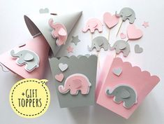 Excited to share the latest addition to my shop: Pink Gray Elephant Baby Shower Party Kit 1 st Girl Birthday Table Decorations Party Decor Favor Paper Box Hats Its a Girl +GIFT cake toppers Elephant Party, Elephant Birthday, Elephant Theme, Elephant Baby Showers, Grey Elephant, Baby Birthday Decorations, Girl Baby Shower Decorations, Baby Shower Centerpieces, Table Decorations