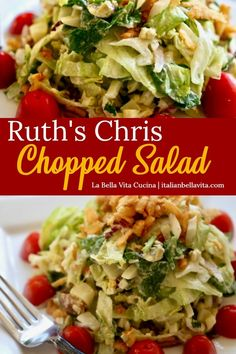 Ruth s Chris FAMOUS Chopped Salad Recipe copycat that is the exactly the DELICIOUS RECIPE you are searching for Find it on La Bella Vita Cucina salad ruthchrischoppedsalad copycatrecipe ruthchrissteakhouse choppedsaladrecipe choppedsalad # Chopped Salad Recipes, Best Salad Recipes, Salad Dressing Recipes, Healthy Recipes, Ruth's Chris Chopped Salad Recipe, Italian Chopped Salad, Salad Dressings, Lettuce Salad Recipes, Italian Salad Recipes
