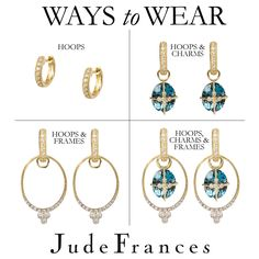 Jude Frances now has frames to go with your hoops and charms.  So many different ways now to wear a set of earrings!