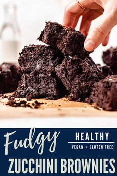 These super fudgy and rich vegan zucchini brownies are the ultimate indulgence while being full of fresh zucchini, refined sugar free, dairy free, and gluten free! So easy to make, and you'd never know these brownies are healthier! Gluten Free Zucchini Brownies, Chocolate Zucchini Brownies, Best Vegan Brownies, Healthy Chocolate Desserts, Vegan Zucchini, Healthy Dessert Recipes, Vegan Desserts, Gluten Free Sweets, Gluten Free Cakes
