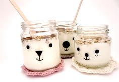 baby food jars turned into the cutest little creatures//