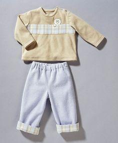burda style, Schnittmuster für Babys - Shirt mit Blende und Verschluss an den Schultern und Gummizughose mit karierten Aufschlägen