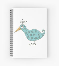 Swirly bird design, fun illustration design for kids and all ages Fun Illustration, Notebook Design, Canvas Prints, Art Prints, Bird Design, Notebooks, Spiral, Finding Yourself, Artists