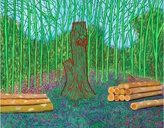 (UK) Arranged felled trees, 2008 by David Hockney ). oil on canvas. David Hockney Artwork, David Hockney Landscapes, David Hockney Ipad, Art Pop, Modern Art, Contemporary Art, Pop Art Movement, Robert Rauschenberg, Grafiti