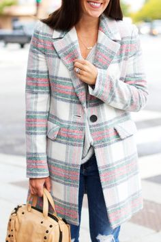 Sequins & Stripes | Chicago Based Fashion and Style Blog   Love this plaid coat!